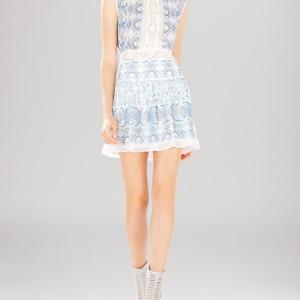 BCBGMAXAZRIA Dress – Aymenline Scarf Print & Lace Trim A-Line