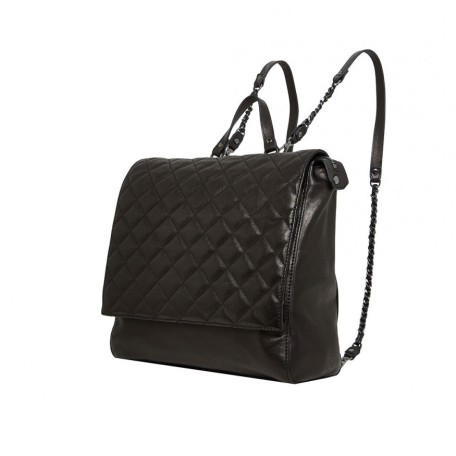 Black Scarlet Quilted Leather Backpack