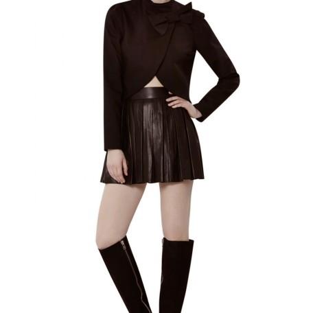 Box Pleat Leather Skirt
