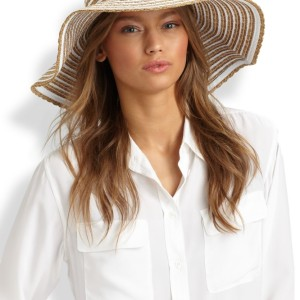 Eric Javits Striped Grosgrain Ribbon Floppy Hat