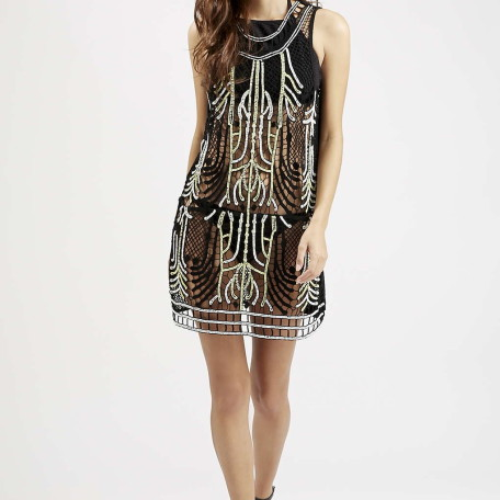 Ladder Crochet Beaded Cover Up Dress