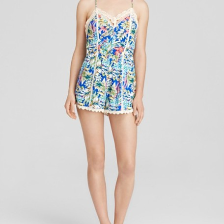 Lush Romper – Sleeveless Tropical Print