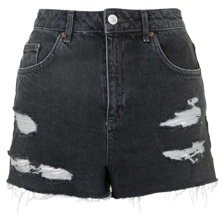 MOTO Black Ecru Mom Shorts