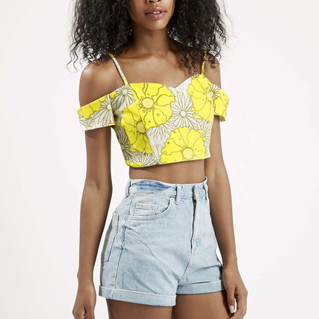 PETITE Bright Floral Print Strappy Bardot Top
