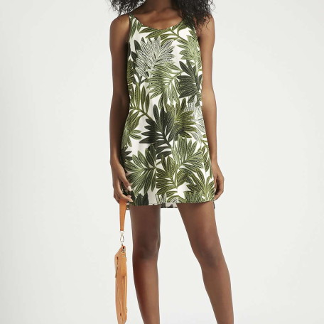 PETITE Palm Leaf Print Slip Dress