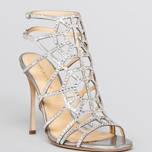 Sergio Rossi Open Toe Evening Sandals – Puzzle Sparkle High Heel