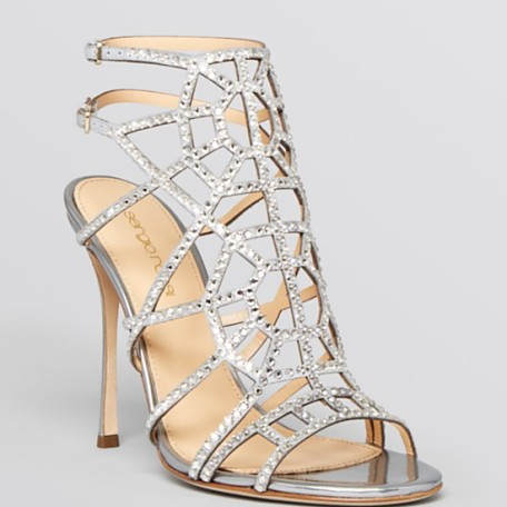 Sergio Rossi Open Toe Evening Sandals – Puzzle Sparkle High Heel
