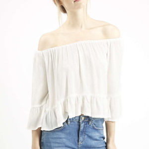 TALL Crinkle Off Shoulder Bardot Top