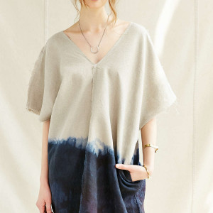 Urban Renewal Remade Dip-Dye Raw Edge Linen Sack Dress