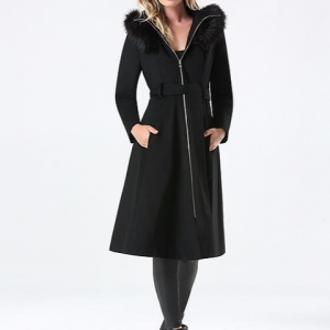 Bebe Black Wook Hooded Coat