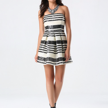 Bebe Sequin Striped Flared Dress