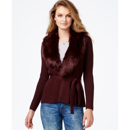 GUESS Belted Faux-Fur-Detail Sweater