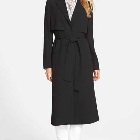 Halogen Wrap Front Long Trench Coat