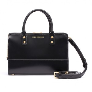 Lulu Guinness Black Polished Leather Mini Daphne