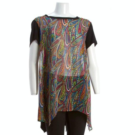 Paisley Print Sheer Front Top