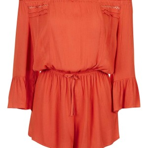 Crinkle Trim Bardot Playsuit