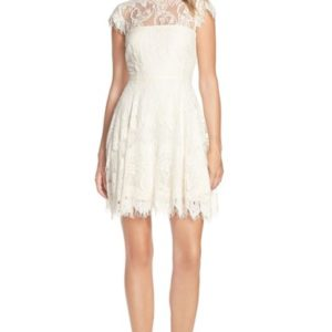 'Rhianna' Illusion Yoke Lace Fit & Flare Dress
