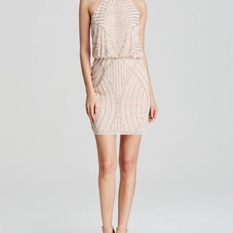AQUA Dress – High Neck Beaded Blouson