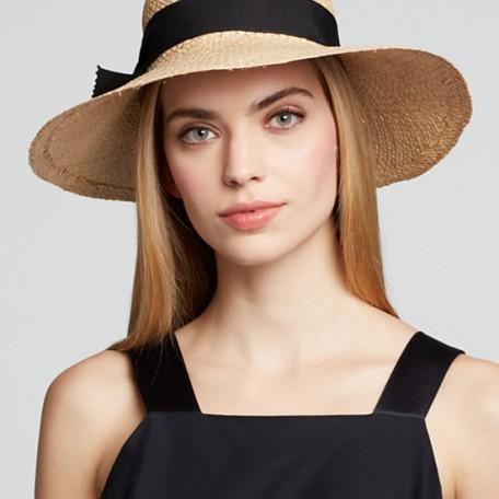 AQUA Ribbon Bow Straw Hat