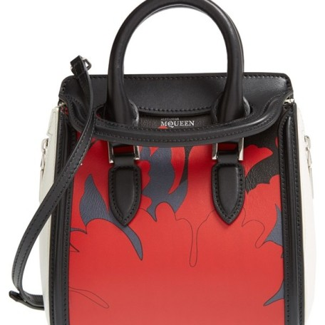 Alexander McQueen Mini Heroine – Lotus Print Leather Satchel