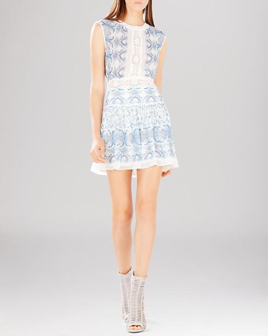 BCBGMAXAZRIA Dress – Aymenline Scarf Print   Lace Trim A-Line ... 2e0a2c889