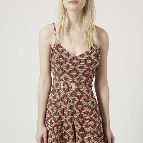 Cut-Out Tribal Print Playsuit