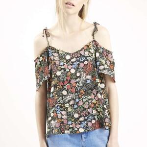 Florat Print Tie-Strap Bardot Top