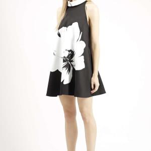 Flower Placement Print Shift Dress
