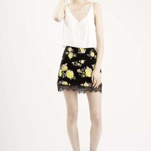 Flower Print Mini Skirt