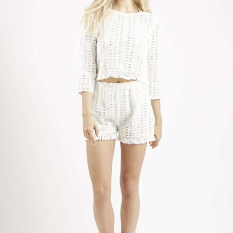 Fringe Trim Crochet Top and Shorts