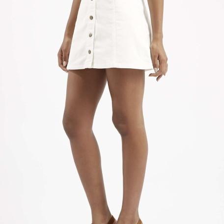 PETITE Cord Button Through A-Line Skirt