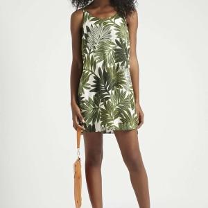 PETITE Palm Leaf Print Slip Dress