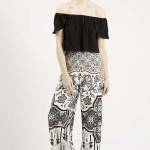 PETITE Tile Print Wide Leg Trousers