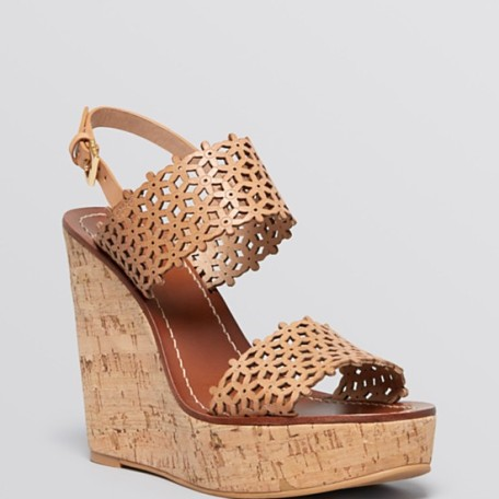 Tory Burch Platform Wedge Sandals Daisy Perforated