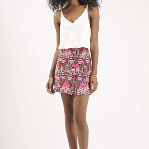 Rose Print Cord A-Line Skirt