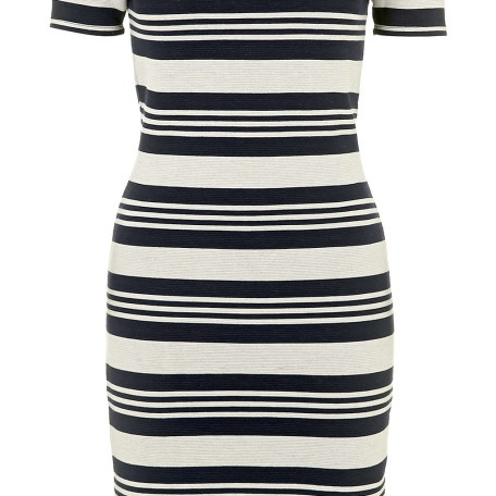 Striped Bardot Bodycon Dress