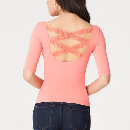 Crisscross lace top