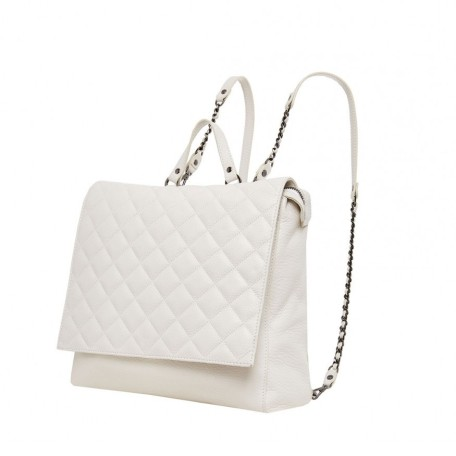 White Scarlet Quilted Leather Backpack
