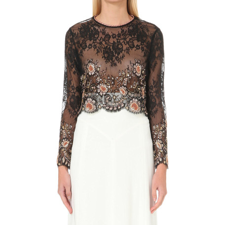 Alessandra Rich Embellished lace top