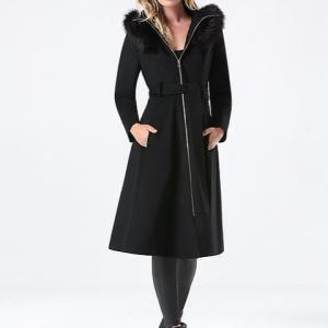 Bebe Black Wook Hooded Coat