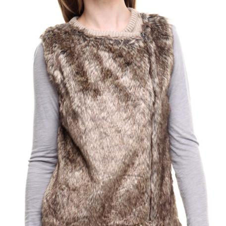 DrJays Front Faux Fur Diagonal Zip Vest