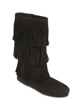 Minnetonka Womens Calf Hi 3-Layer Fringe Boot