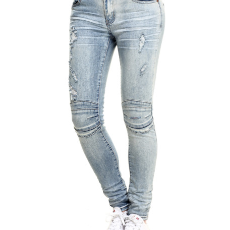SOHO BABE Wax Coated High Waist Moto Skinny Jean