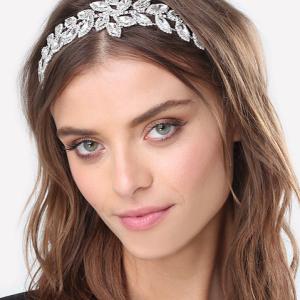 Bebe Crystal Leaf Headband