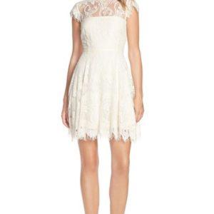 'Rhianna' Illusion Yoke Lace Fit & Flare Dress
