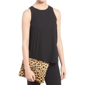 Leopard Print Genuine Calf Hair Pouch
