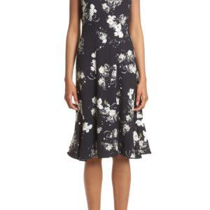 Neo Floral Print Jersey Ruffle Hem Dress